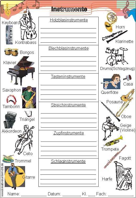 Einteilung der Instrumente - Holzblas- Blechblas- Tasten- Streich ...