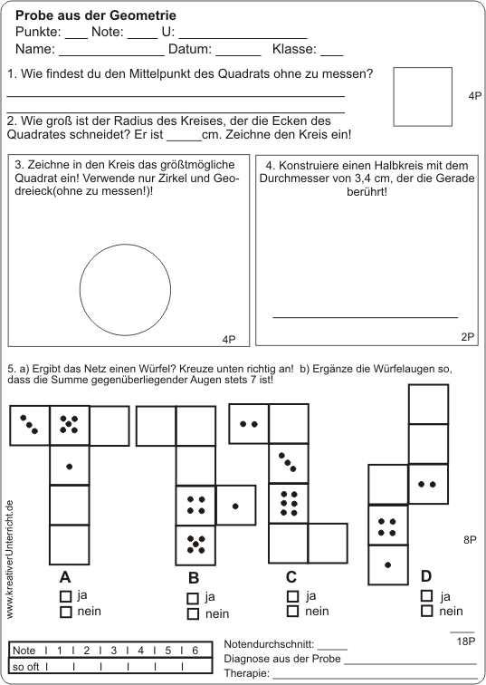 Kreis-Quadrat-Würfelnetz-Probe
