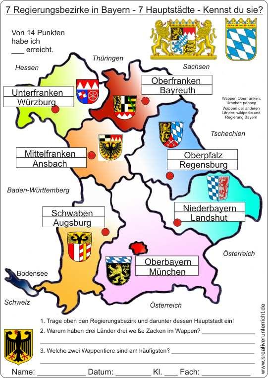 regierungsbezirke bayern karte mit hauptstädte 7 Regierungsbezirke in Bayern   7 Hauptstädte