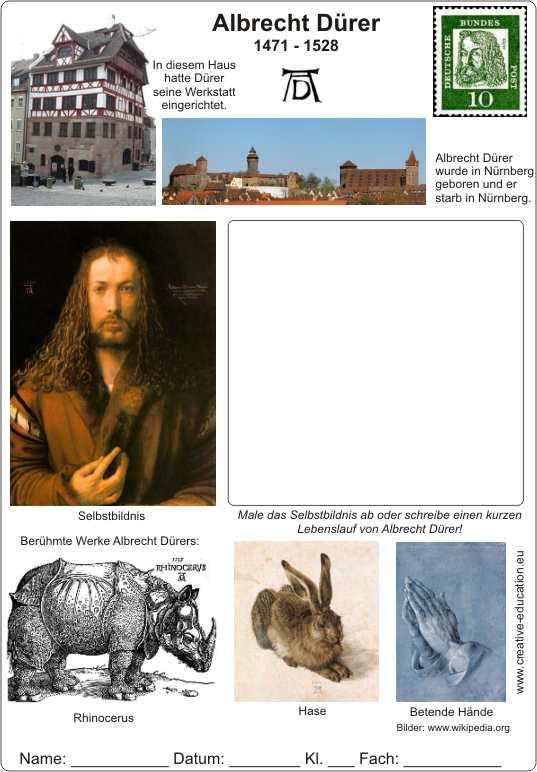 albrecht d rer 1471 1528 lebenslauf mit text und bildern arbeitsblatt. Black Bedroom Furniture Sets. Home Design Ideas