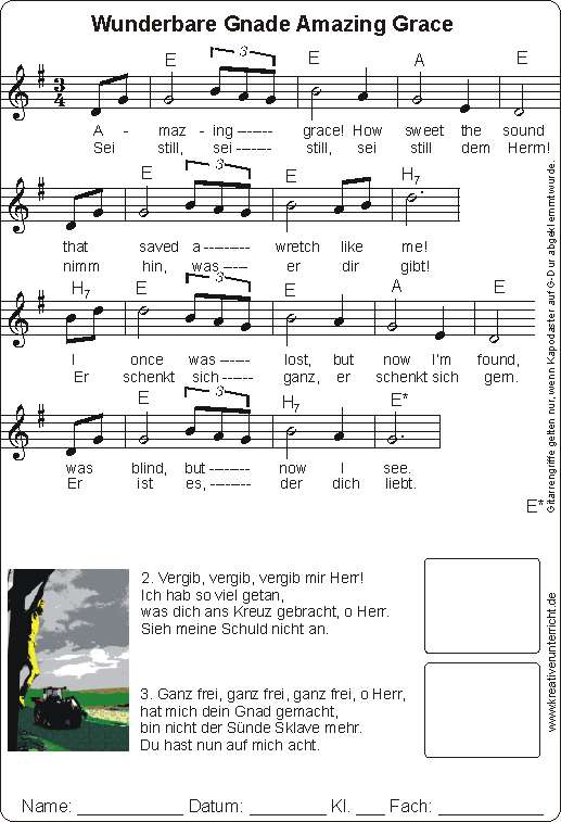 Amazing Grace Worksheet And Song Wunderbare Gnade
