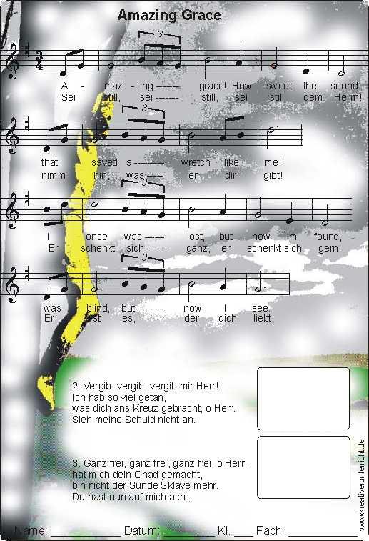 Amazing Grace Worksheet and Song Wunderbare Gnade Arbeitsblatt mit ...