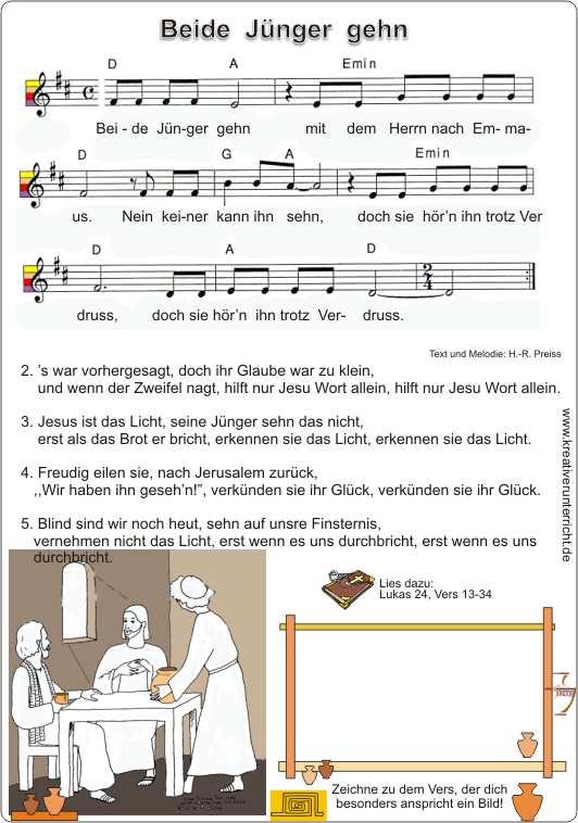 Emmaus - Beide Jünger gehn mit Jesus