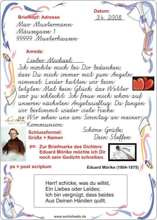 Briefe Beschriften Grundschule : Briefe schreiben grundschule arbeitsblätter kostenlos