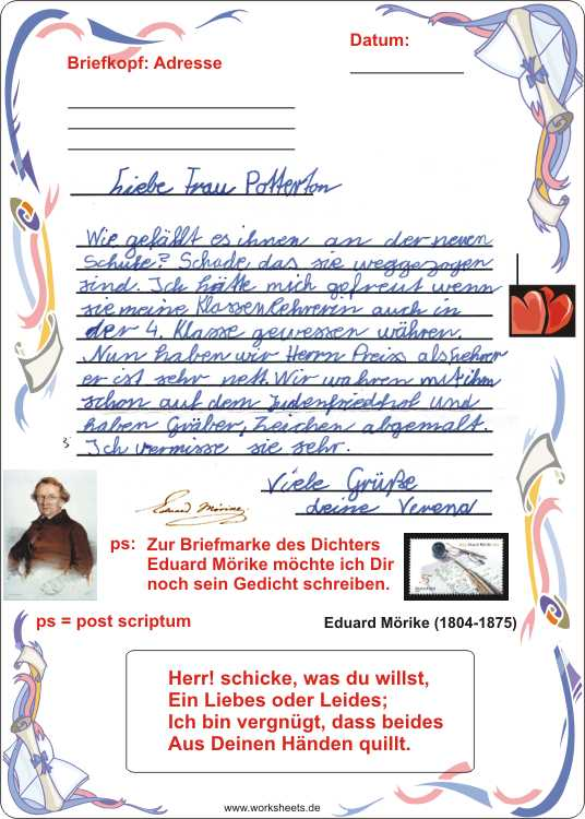 Briefe An Lehrerin Schreiben : Briefe schreiben grundschule arbeitsblätter kostenlos