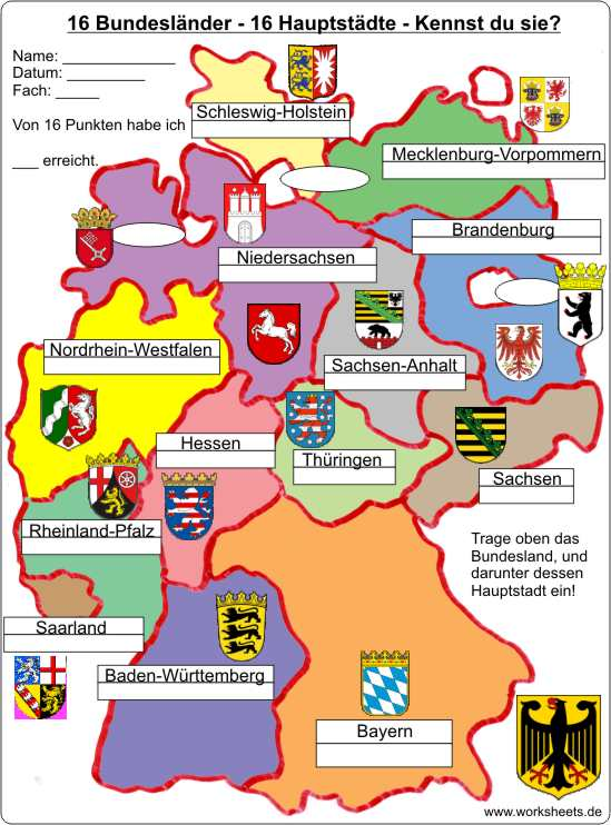 16 Bundeslander 16 Hauptstadte 16 Federal States Of Germany