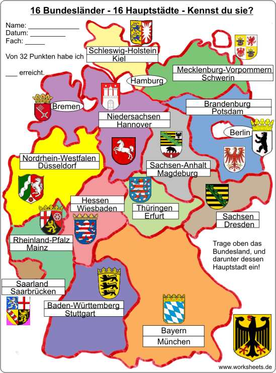 die 16 bundesländer karte 16 Bundesländer 16 Hauptstädte   16 federal states of Germany