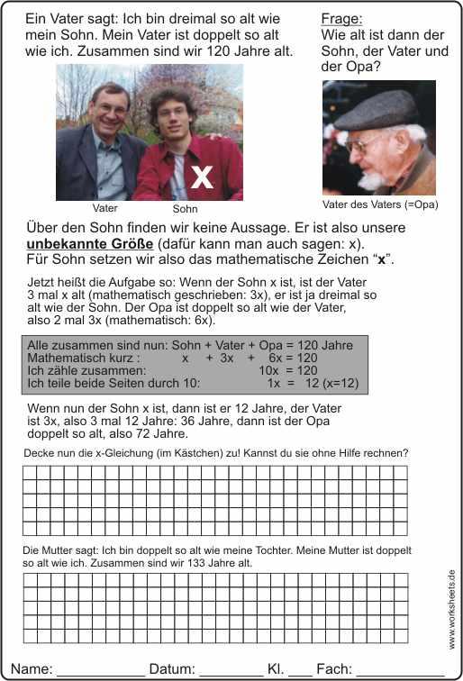 sachaufgaben l246sen unbekannte x