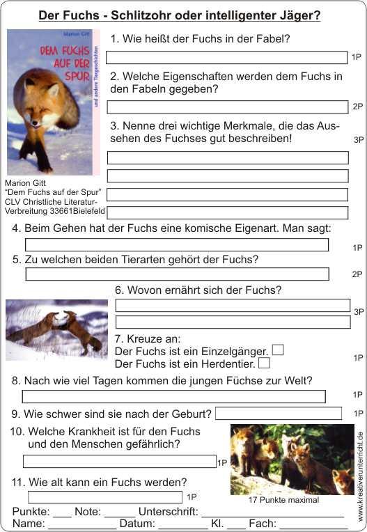 Nett Stein Fuchs Arbeitsblatt Ideen - Arbeitsblätter für ...