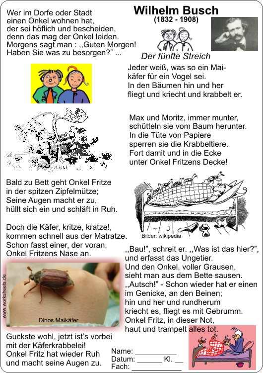 Max Und Moritz Maikäfer Onkel Fritz