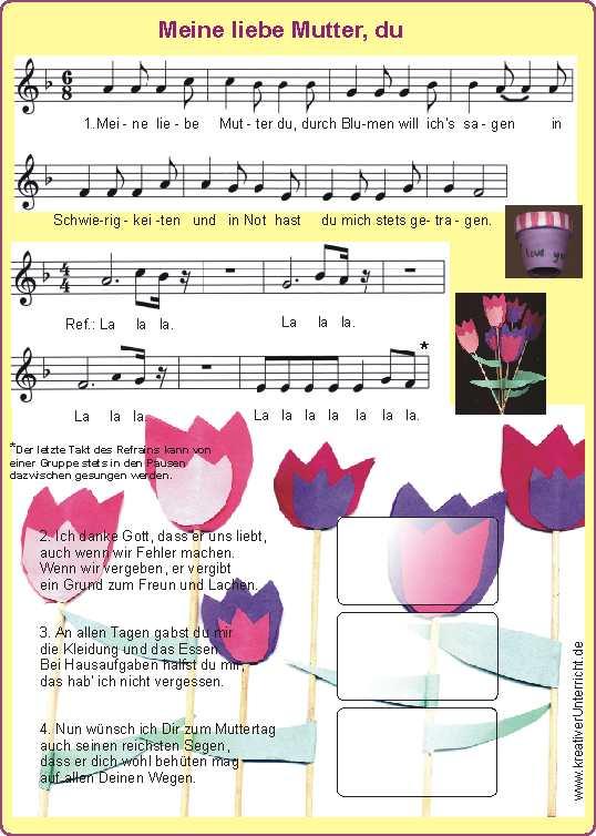Zum_muttertag_basteln_und_sing on Kindergarten Bilingual Worksheets