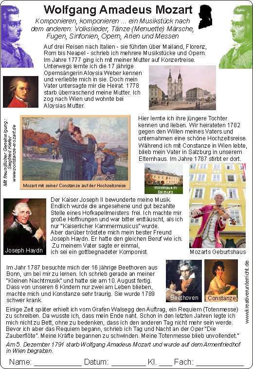 Mozart for Kids Mozart für Kinder Biography Lebenslauf