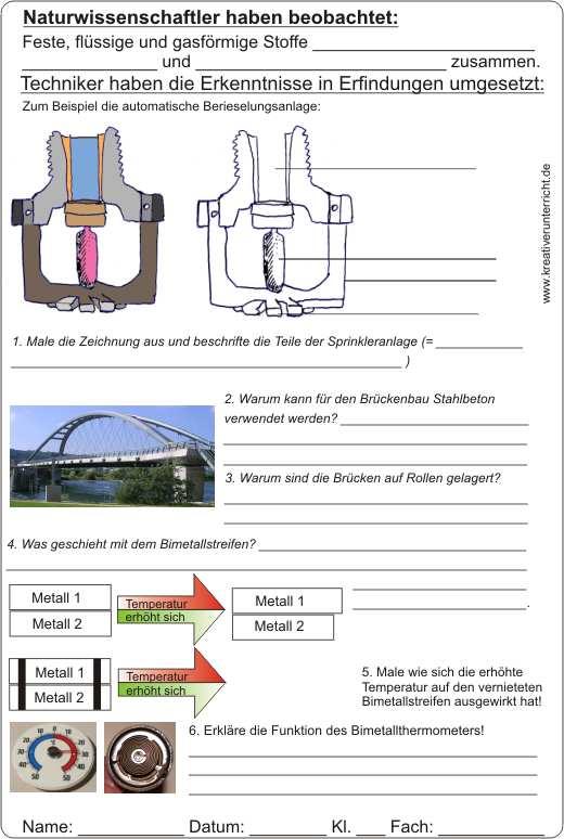 Wärme - Ausdehnung - Bimetall - Naturwissenschaft und Technik
