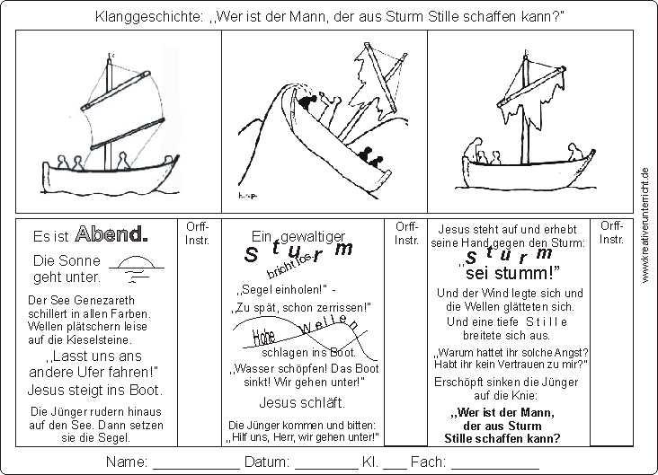 Klanggeschichte Sturmstillung mit Orff-Instrumenten