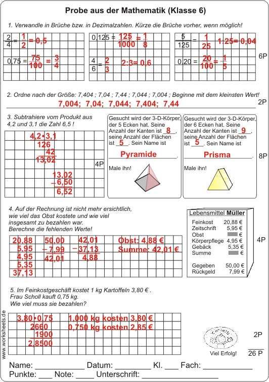 Brüche Dezimalbrüche und 3-D-Körper Probe Klasse 6