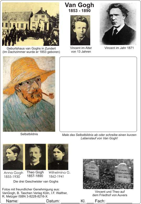 science english worksheets lessons kunst art kunsterziehung musik lieder music songs komponisten composer lebenslauf resume notenlehre music - Van Gogh Lebenslauf